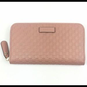 Gucci #449391 Micro-GG Leather Zip Around Wallet